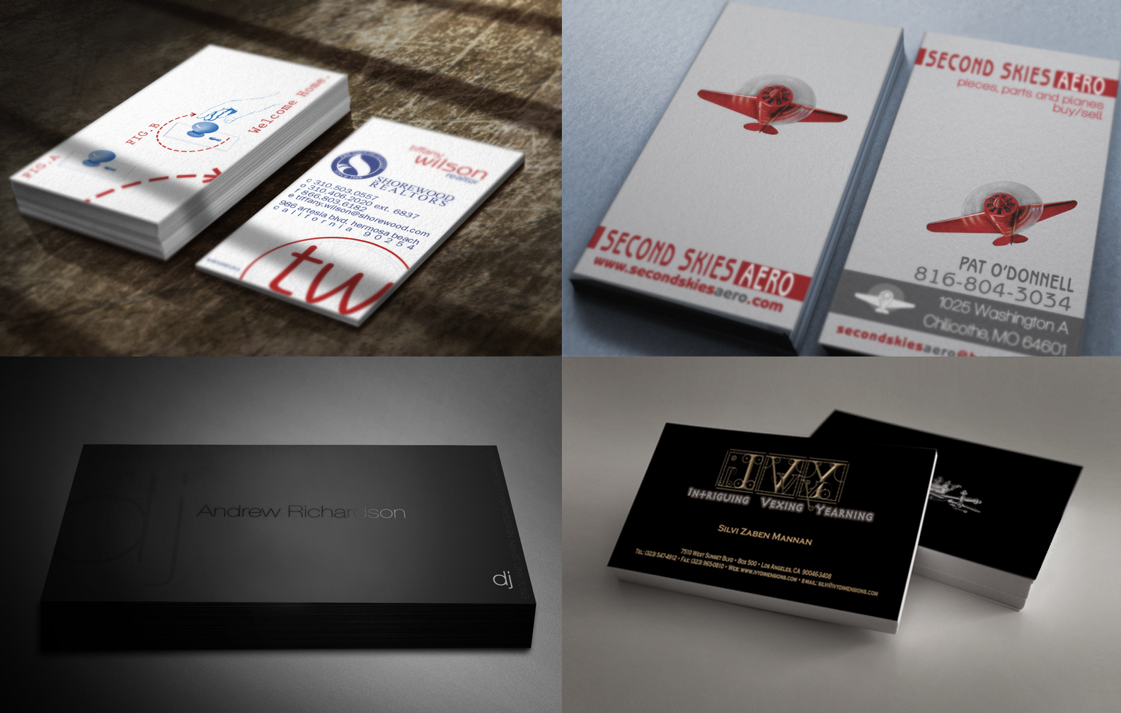 A Variety of Client Card Designs