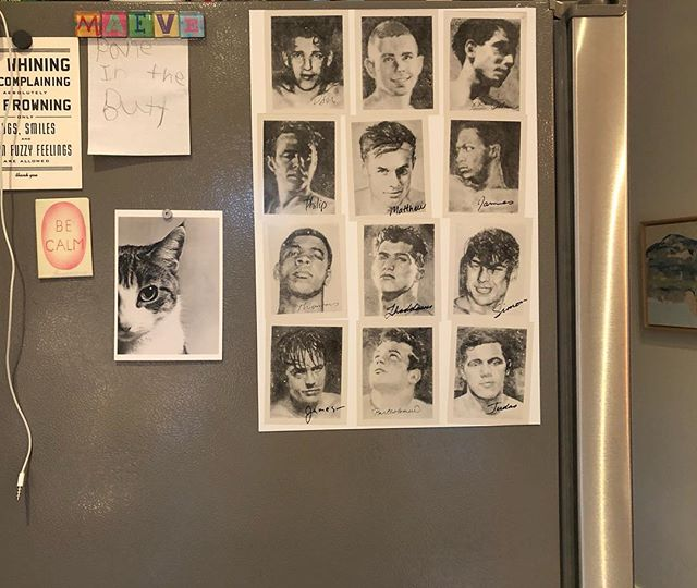 Fridge art 🖼 #stephenandrewsartist #helloboys #matthew  #catsforever #paneinthebutt