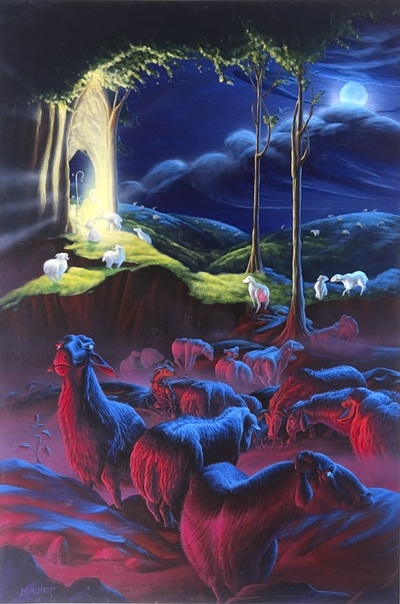 """- 7So Jesus said to them again, """"Truly, truly, I say to you, I am the door of the sheep.8""""All who came before Me are thieves and robbers, but the sheep did not hear them.9""""I am the door; if anyone enters through Me, he will be saved, and will go in and out and find pasture.10""""The thief comes only to steal and kill and destroy; I came that they may have life, and have it abundantly.11""""I am the good shepherd; the good shepherd lays down His life for the sheep.12""""He who is a hired hand, and not a shepherd, who is not the owner of the sheep, sees the wolf coming, and leaves the sheep and flees, and the wolf snatches them and scatters them.13""""He flees because he is a hired hand and is not concerned about the sheep.14""""I am the good shepherd, and I know My own and My own know Me,15even as the Father knows Me and I know the Father; and I lay down My life for the sheep.16""""I have other sheep, which are not of this fold; I must bring them also, and they will hear My voice; and they will become one flock with one shepherd.17""""For this reason the Father loves Me, because I lay down My life so that I may take it again.18""""No one has taken it away from Me, but I lay it down on My own initiative. I have authority to lay it down, and I have authority to take it up again. This commandment I received from My Father.John 10:7-18"""