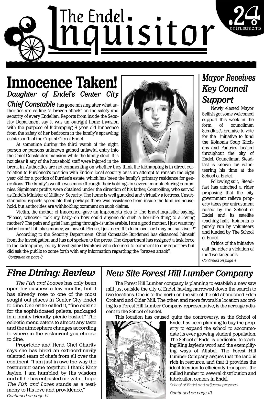 Newspaper front page plot teaser