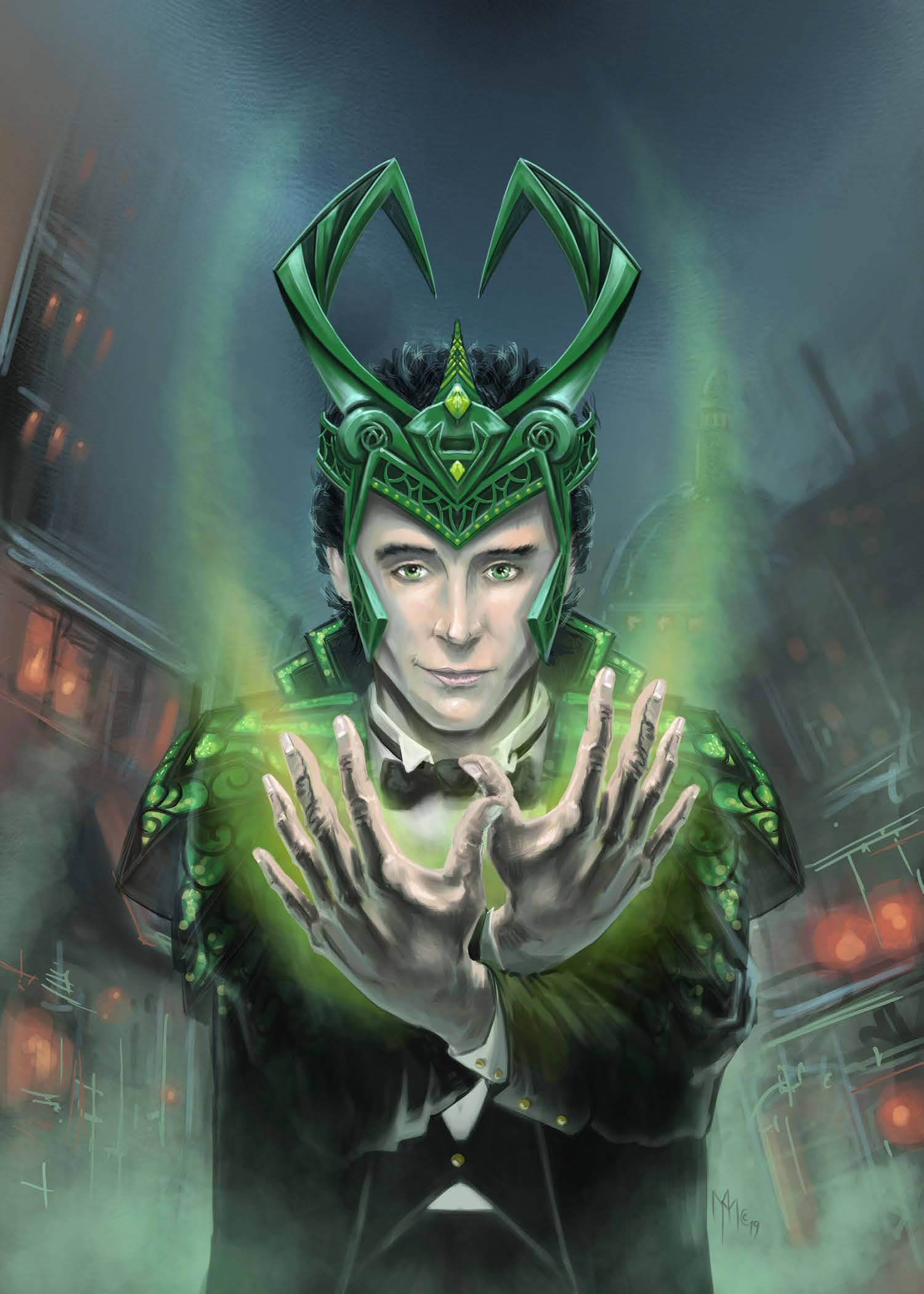 Loki revealing himself as the God of mischief. Illustration from Loki of Midgard.