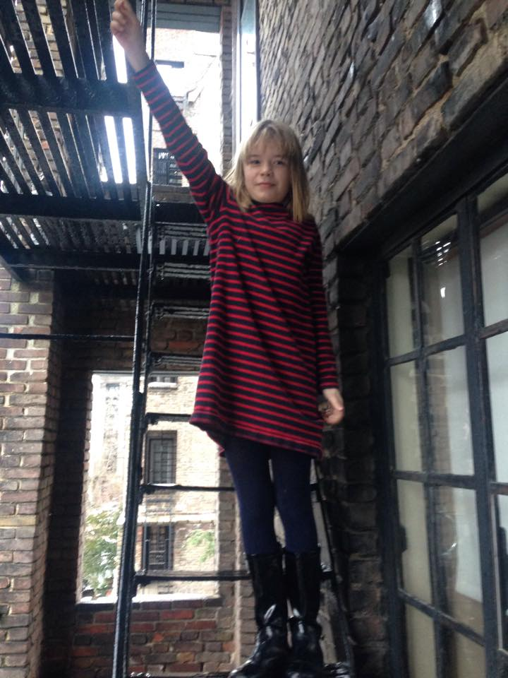on the fire escape