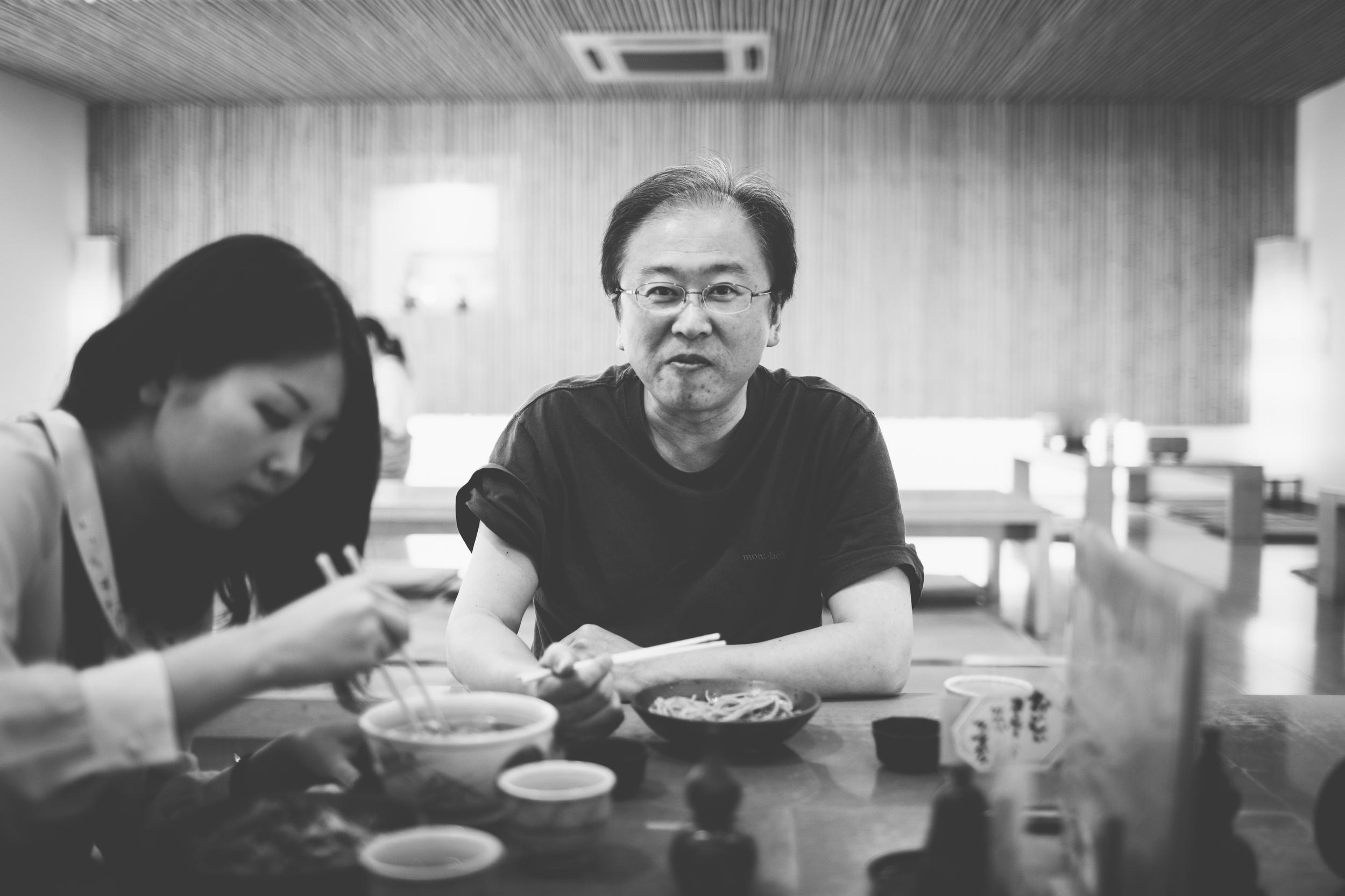 Masaaki eating oroshi soba.