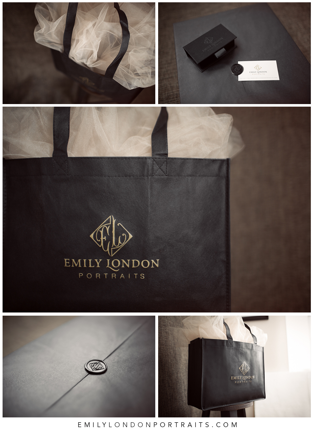 The beautiful packaging from Emily London Portraits in Salt Lake City.