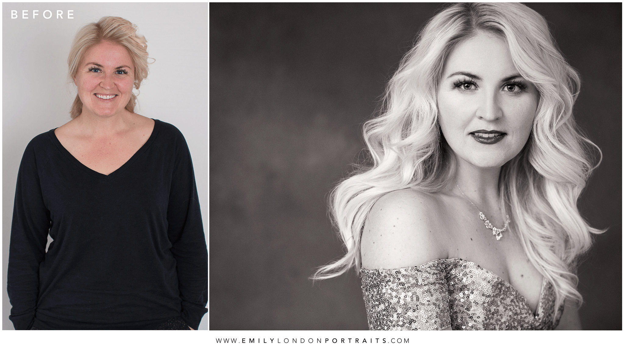 Before and After a Beautiful Makeover and Portrait Session