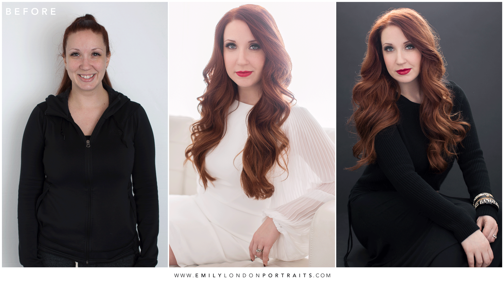 Before and After a Beautiful Portrait Session with Emily London Miller