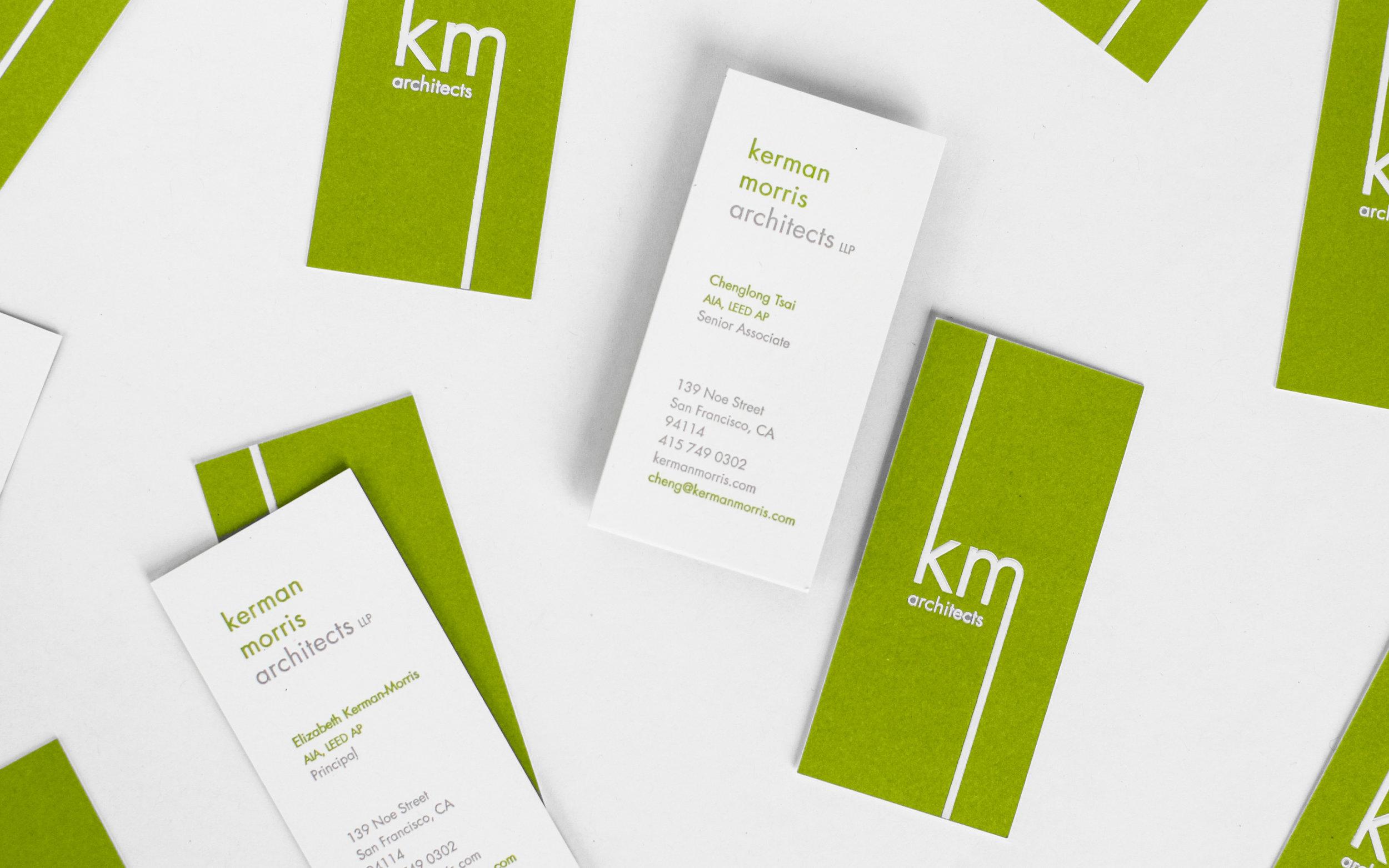 Letterpressed business card design for Kerman Morris Architects.