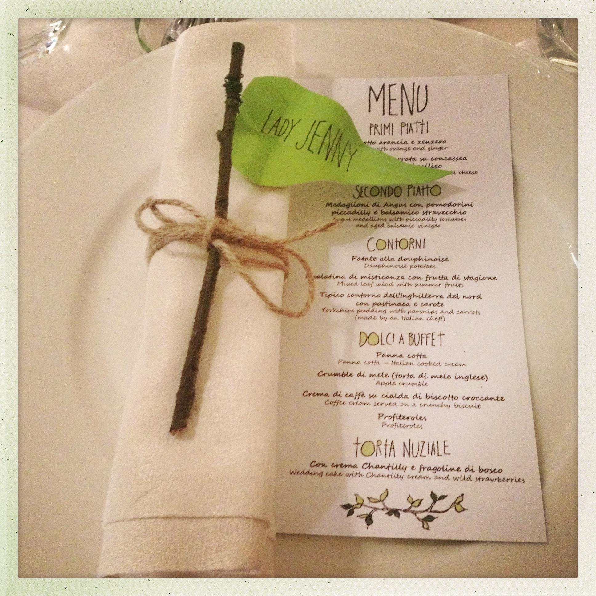 Andrew & Chiara place names and menu