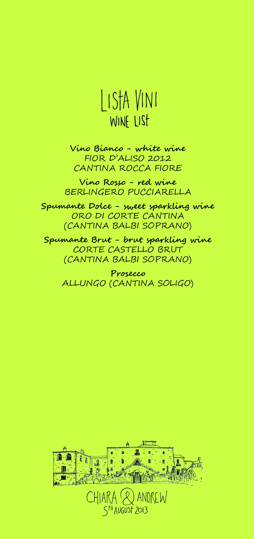 Andrew & Chiara menu back