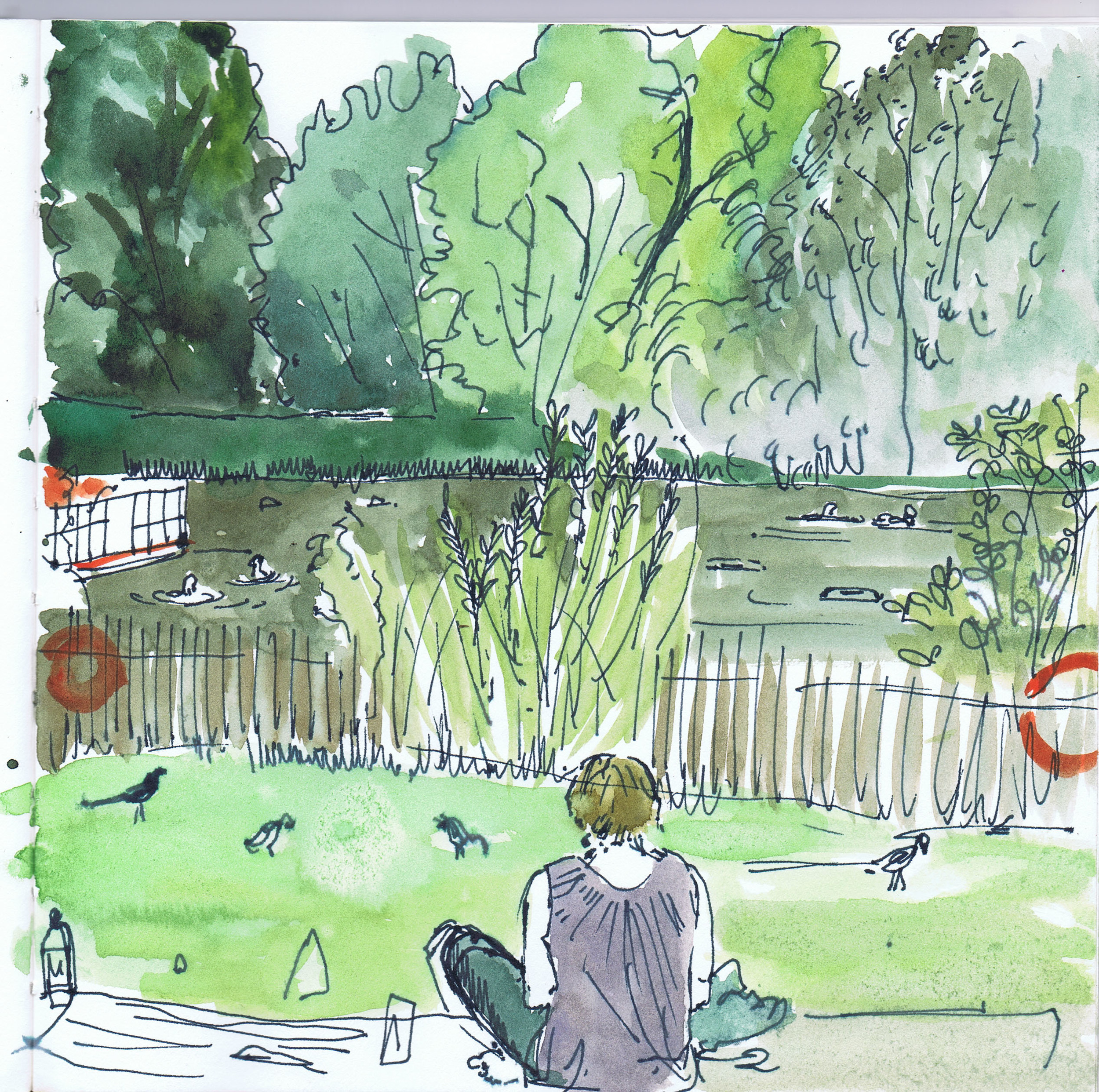 Bloomers sketching at the ponds