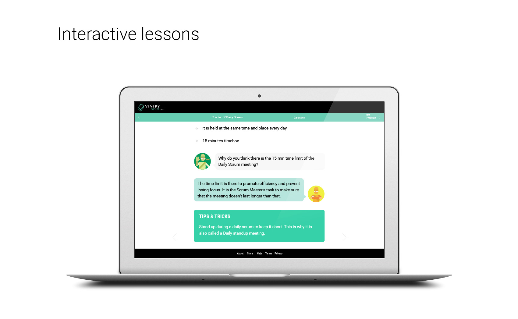 VivifyScrum EDU interactive lessons
