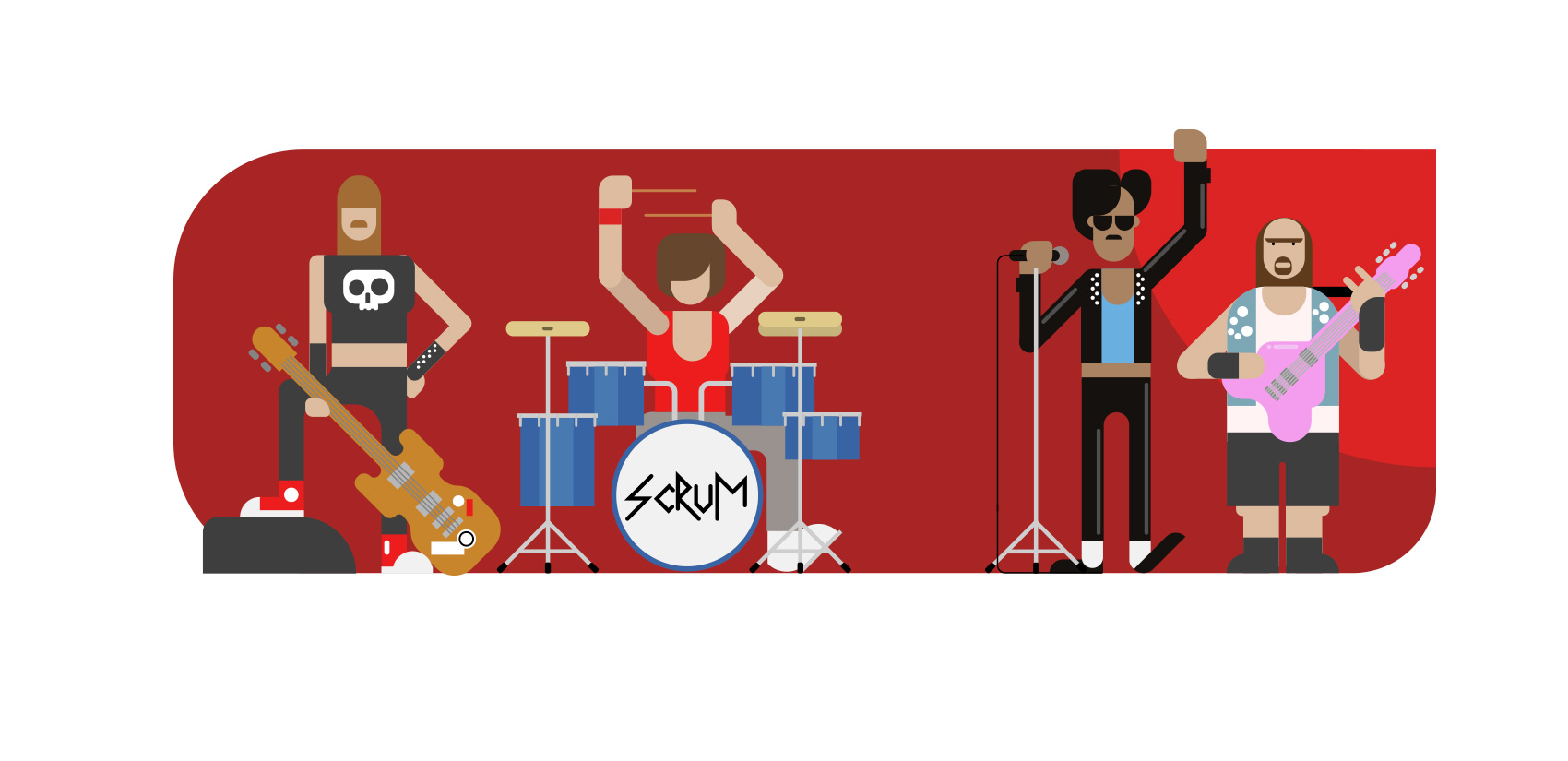 VivifyScrum EDU Rock Band Illustration