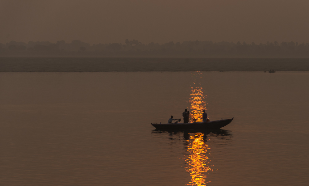 Drifting along the Ganges at dawn.