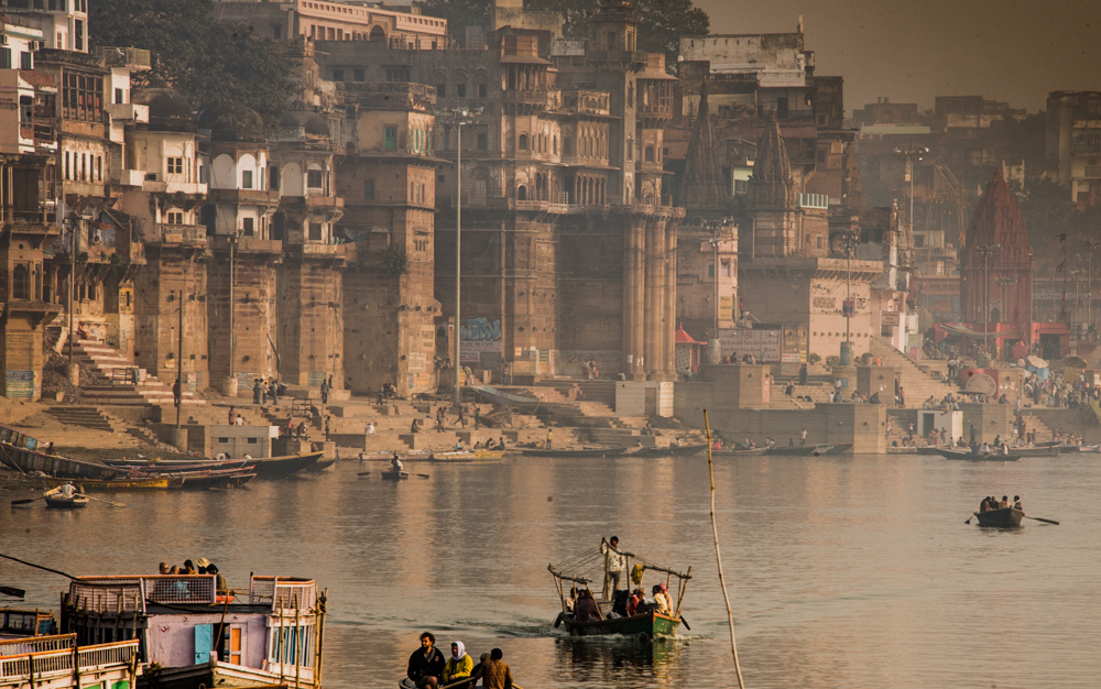 The Ghats on the River Ganges at Varanasi.