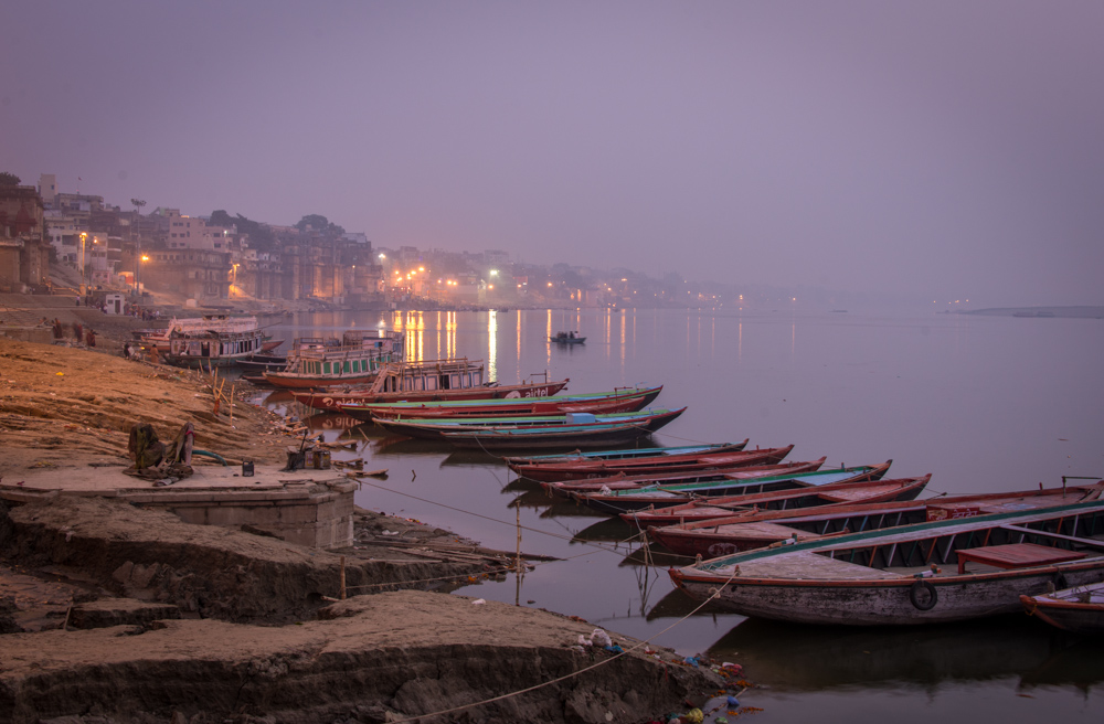 Varanasi and River Ganges at dawn.