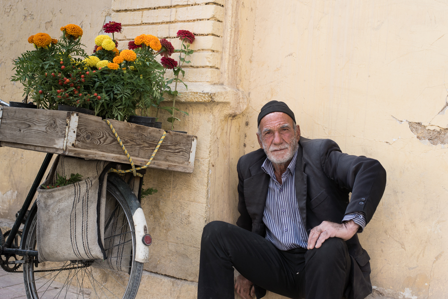 Old man selling flowers in Esphahan, Iran