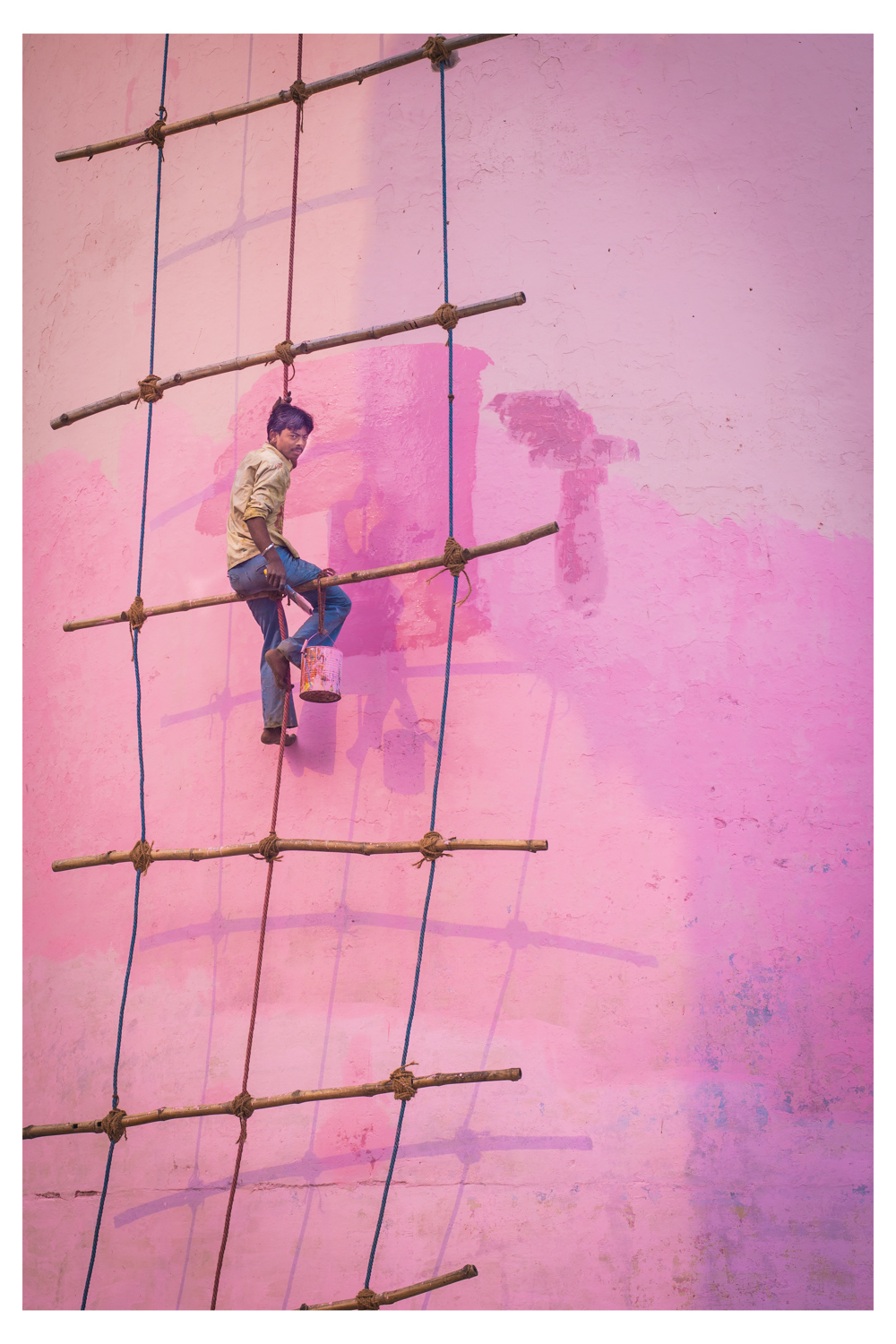 Man Painting Pink Wall - India 2012