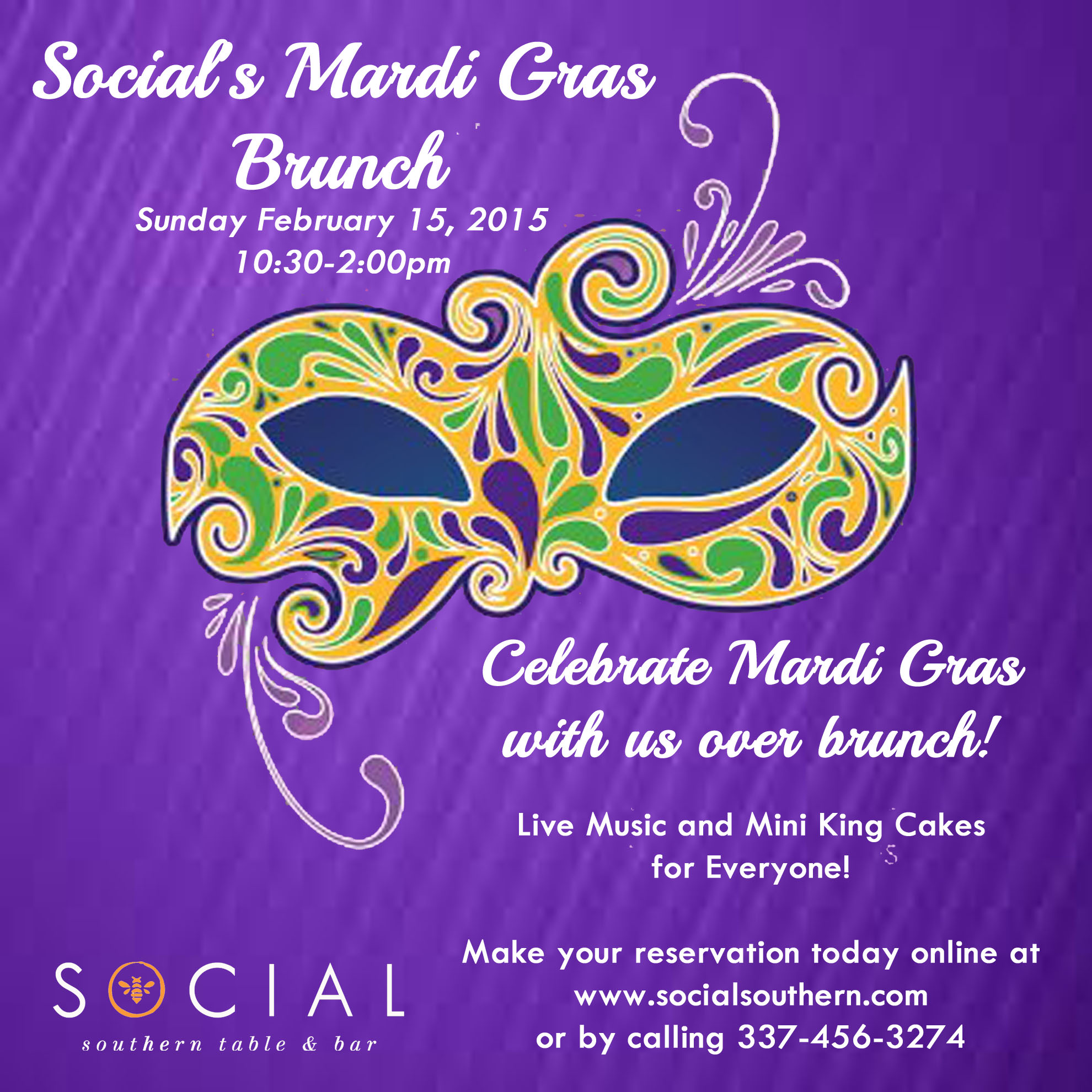 We will also be open Monday February 16 for all you revelers! Join us in celebrating carnival!