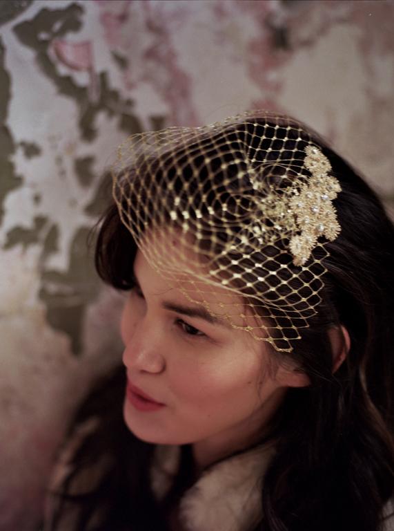 gold vintage tulle birdcage veil hushed commotion