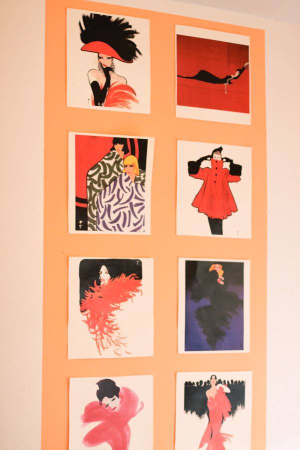 These are from a fashion illustration calendar (by René Gruau)I had a long time ago, when the year was up, I couldn't bear parting with the images, so I pulled them out and put them on my wall!