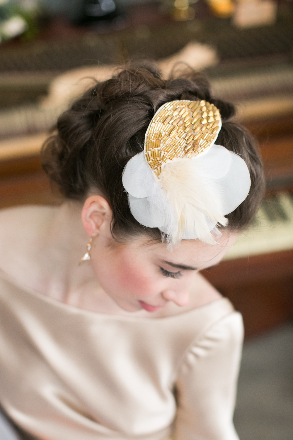 gold beaded vintage hair piece hushed commotion