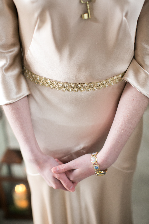 blush dress vintage style gold belt hushed commotion