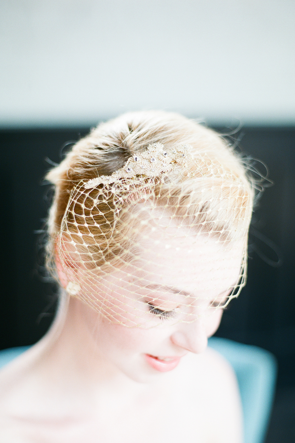 vintage gold french tulle birdcage veil hushedcommotion