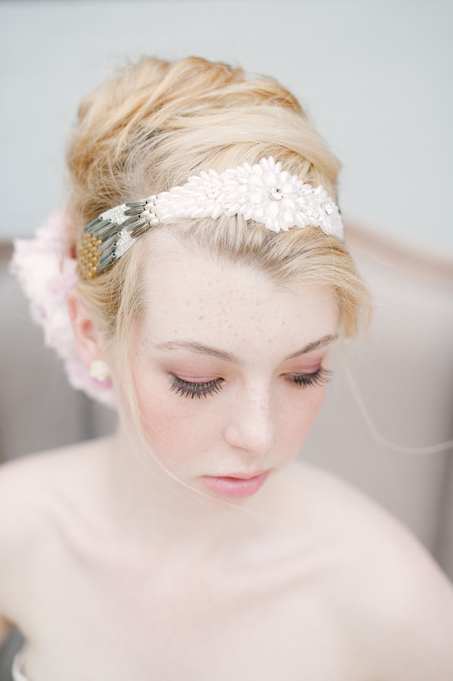 pearl gold silver beaded headpiece hushed commotion