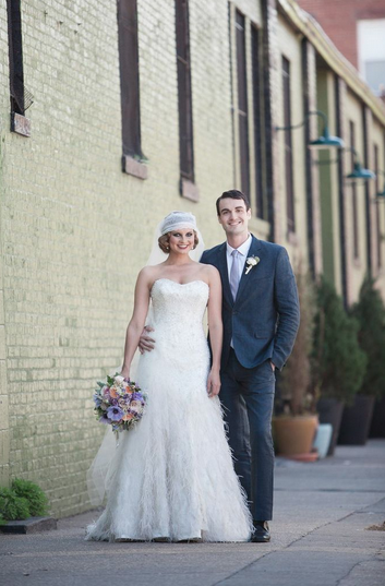 green building new york wedding long veil hushed commotion