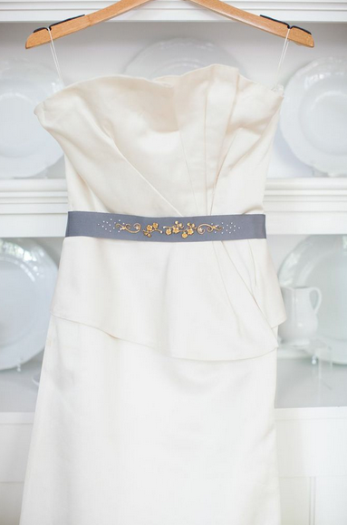 grey wedding belt gold flower hushed commotion