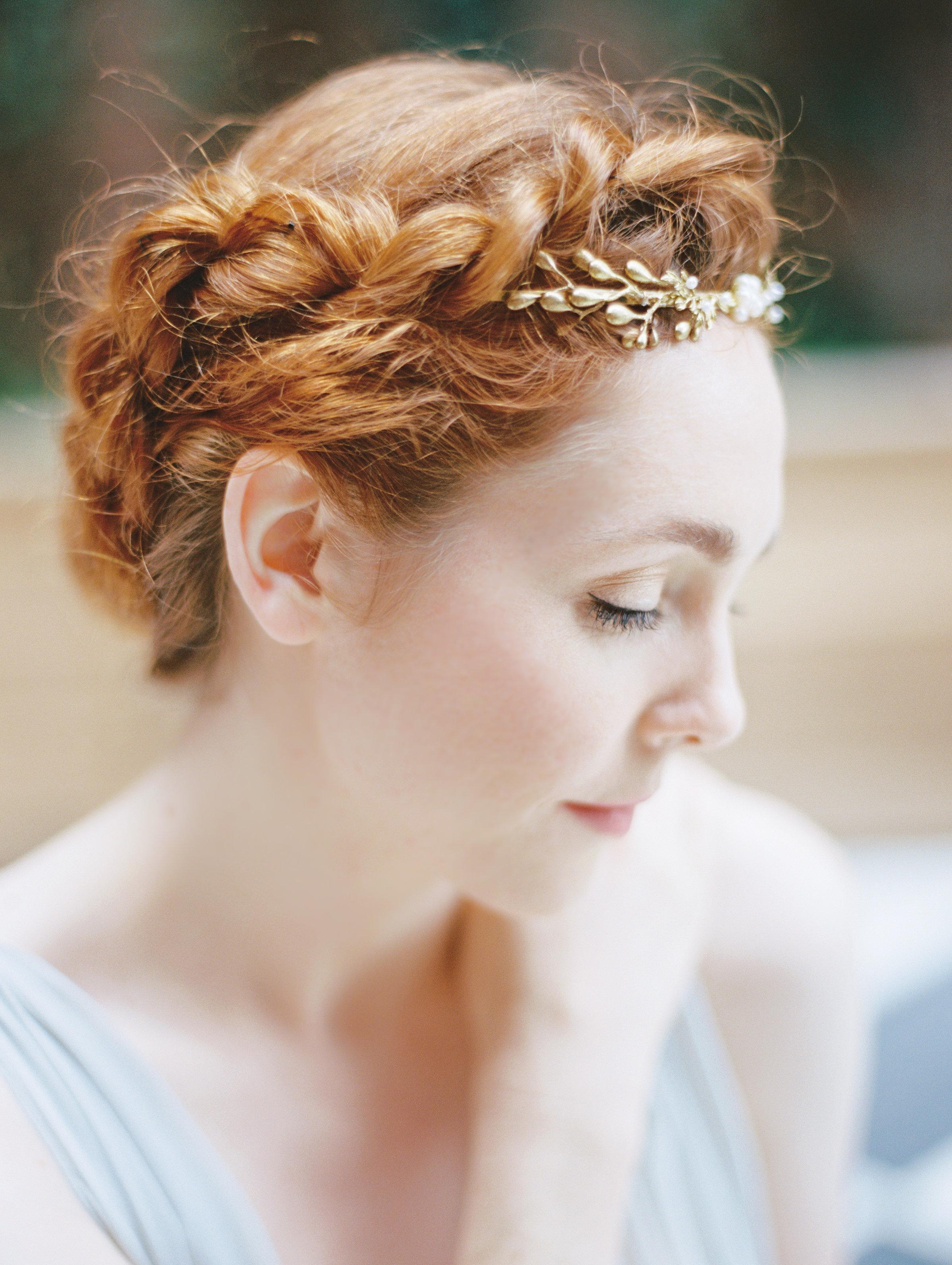 grecian wreath hair piece gold hushed commotion brooklyn braid