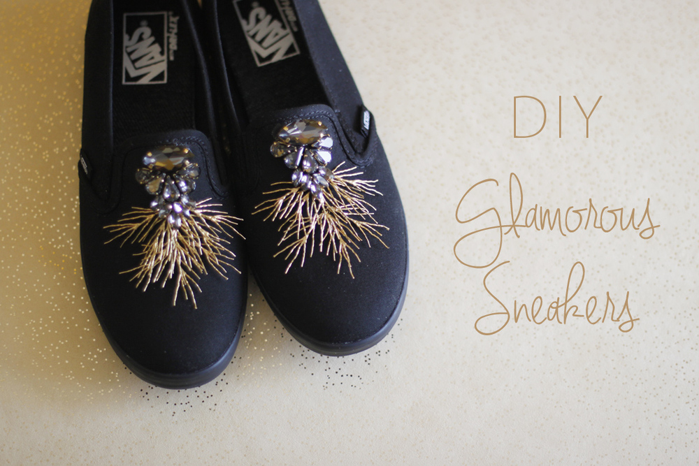 DIY sneakers gold crystal vans