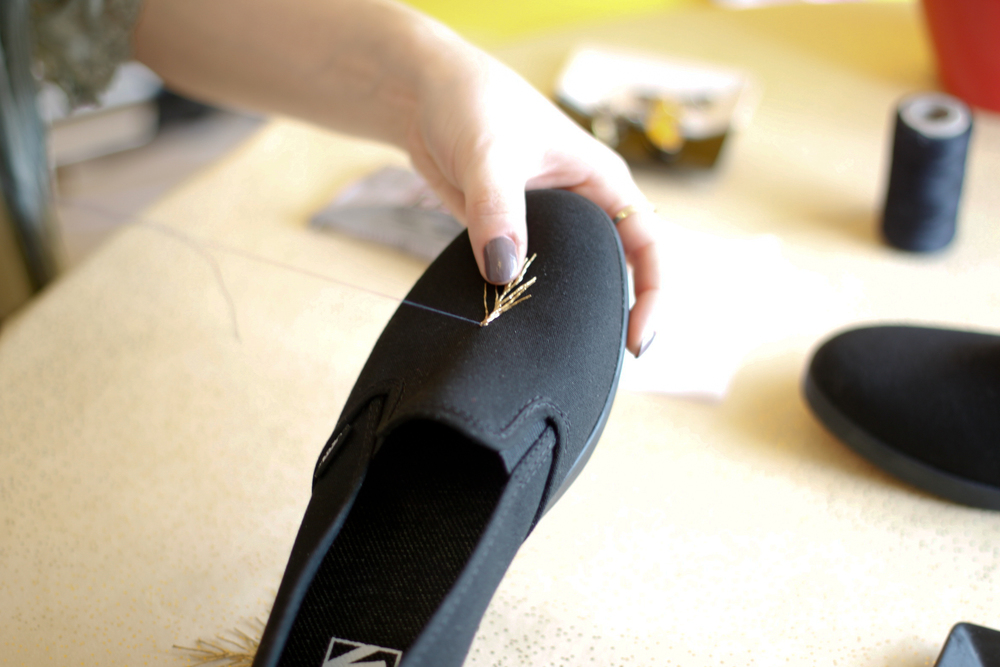 DIY sneakers sewing on step 1