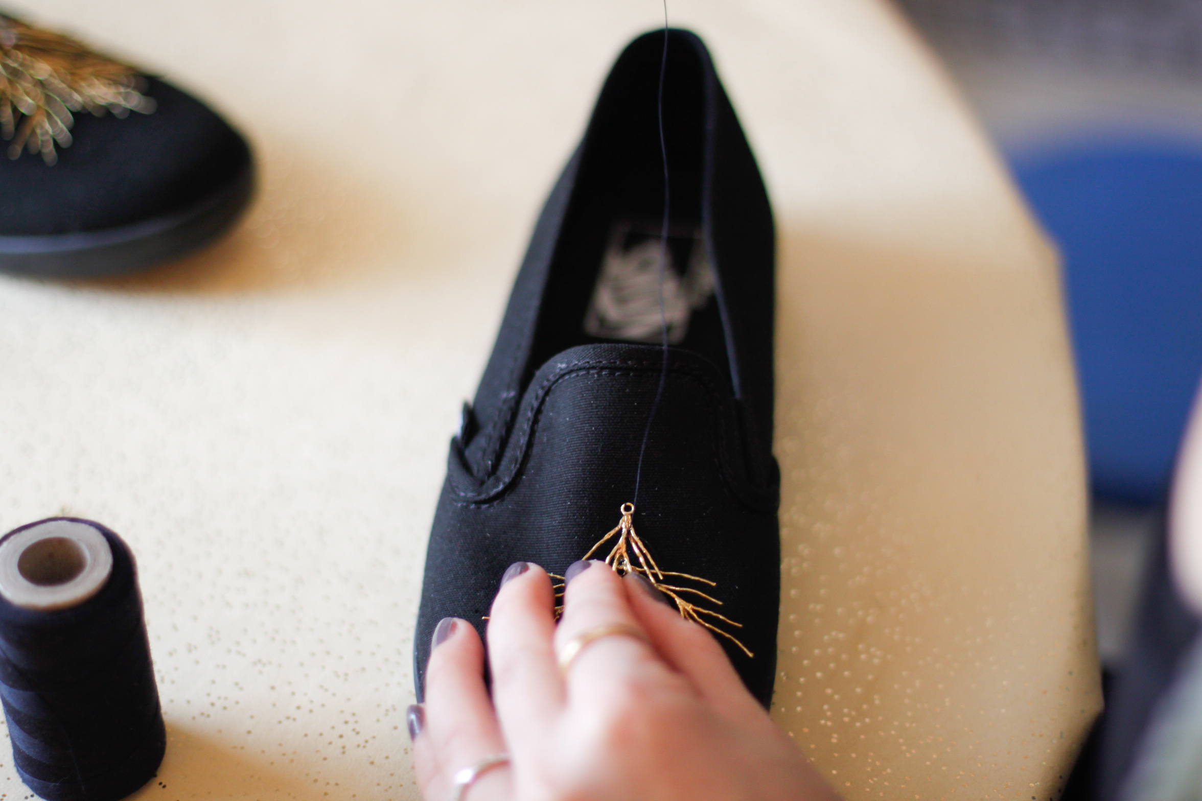 DIY sneakers needle and thread
