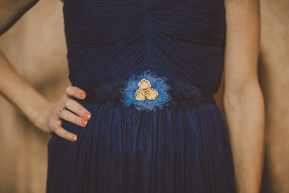 navy bridesmaid belt hushed commotion