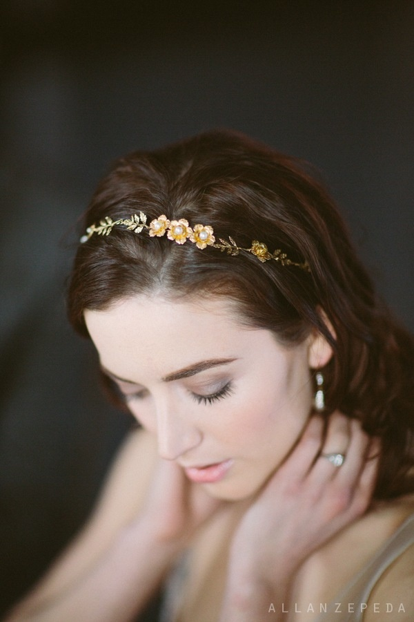 hushed commotion gold flower crown