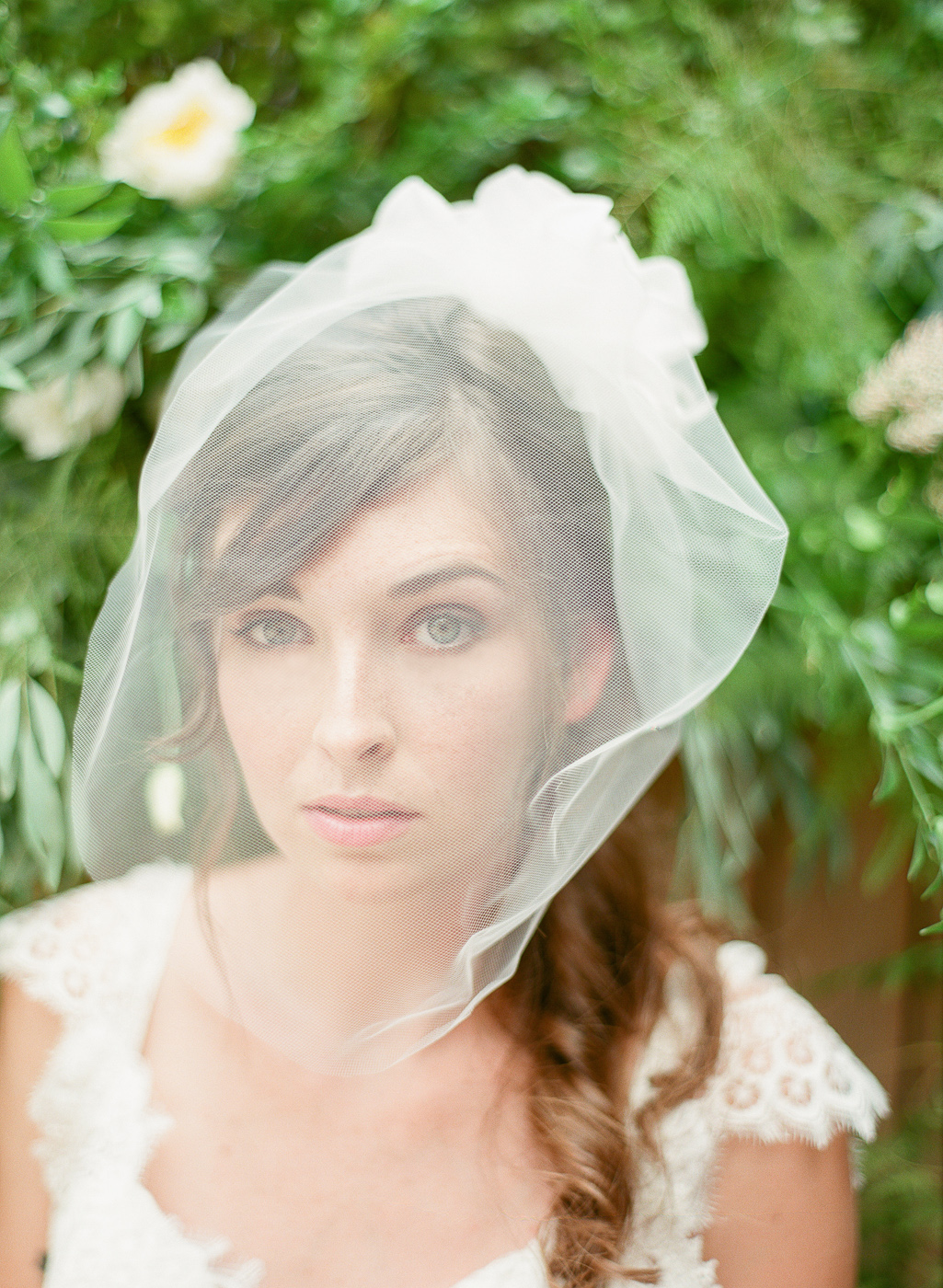 blusher veil with flowers by hushed commotion