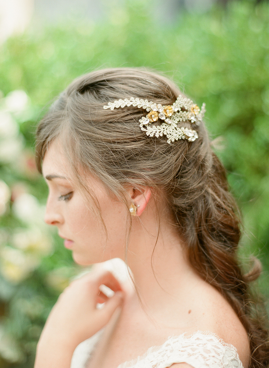 gold vine hair comb with flowers hushed commmotion