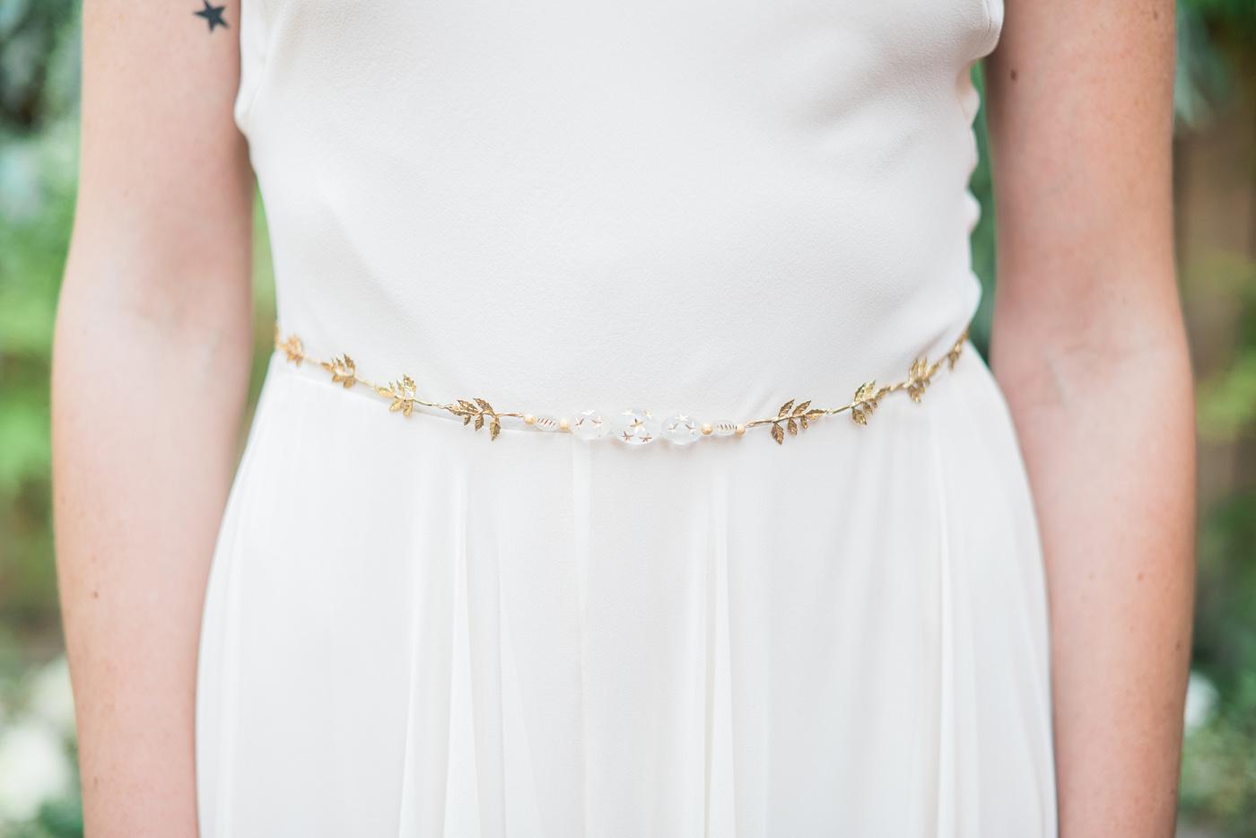 gold leaf wedding belt hushed commotion