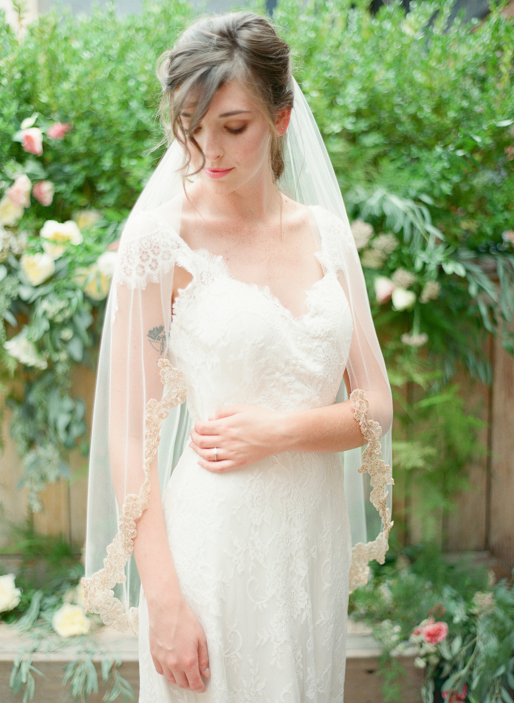 rose gold beaded veil by hushed commotion