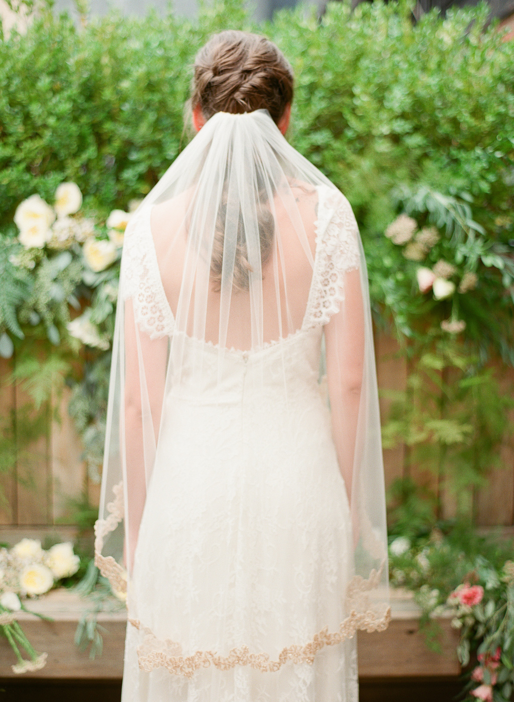 rose gold beaded veil back detail by hushed commotion