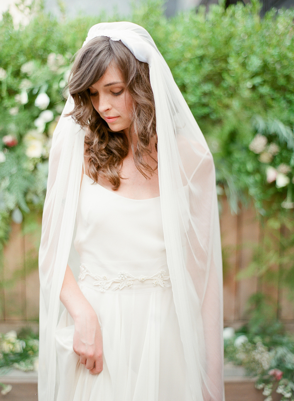 silk tulle flower veil by hushed commotion
