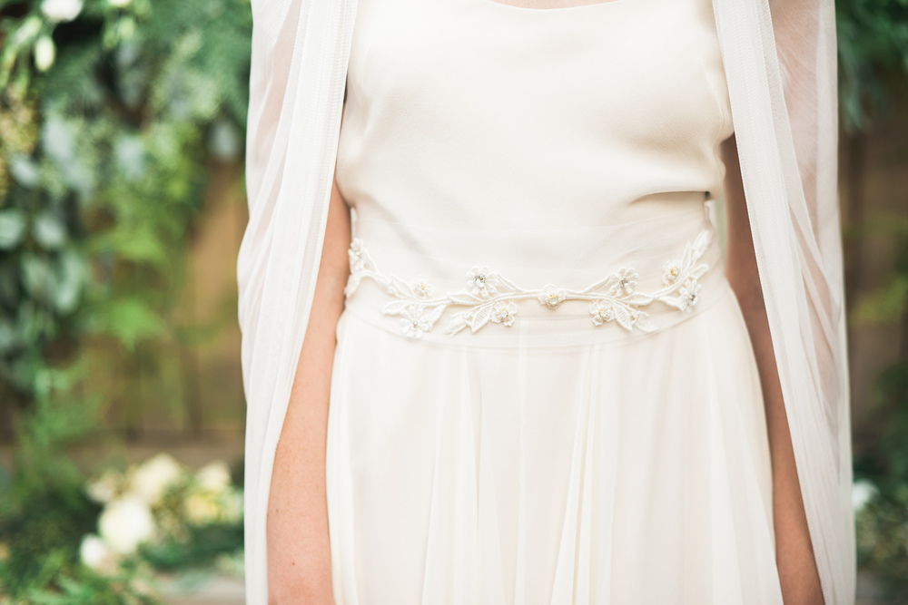 ivory embroidery belt with opal crystal pearl by hushed commotion
