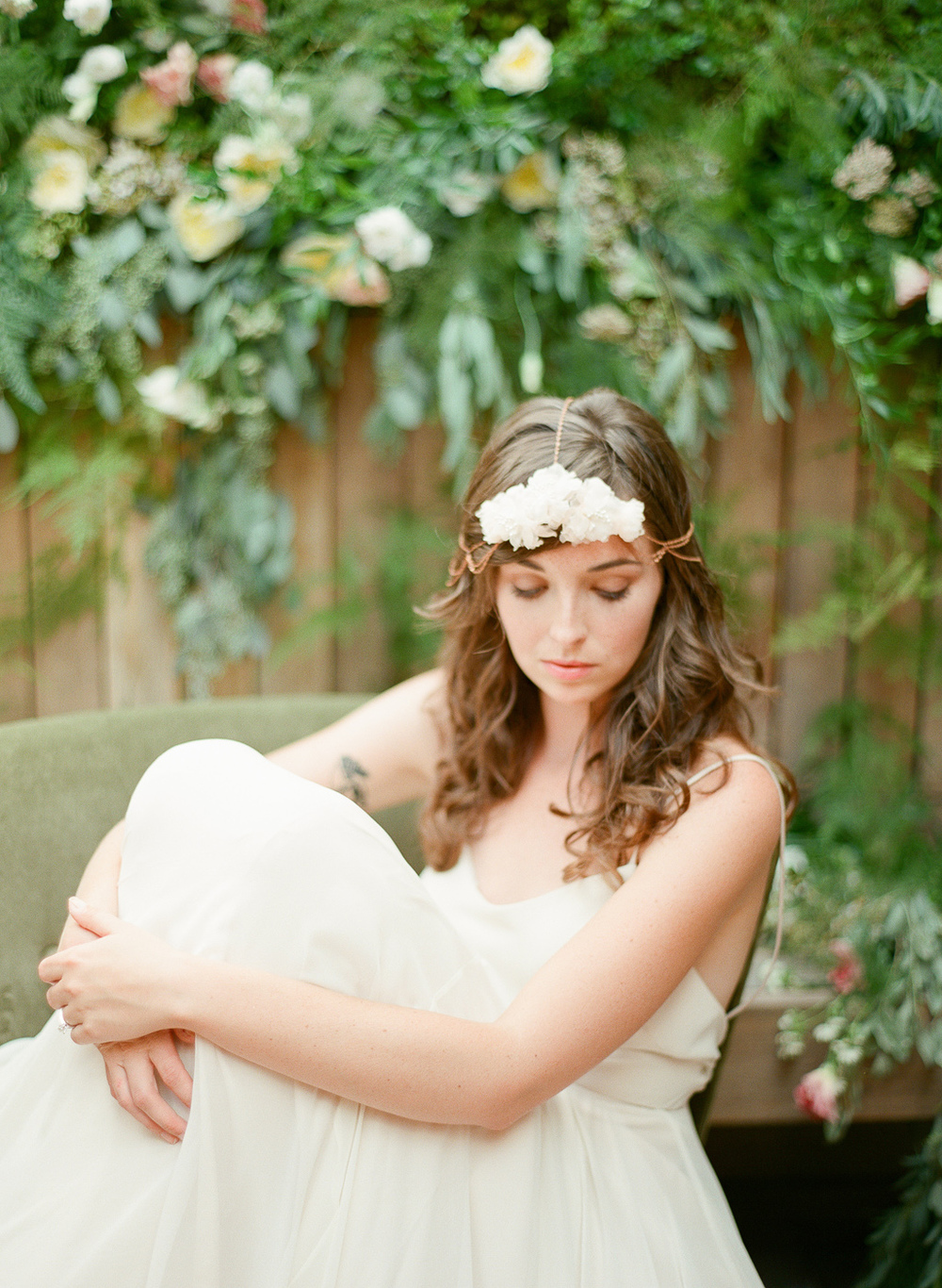 bohemian hair chain with silk flower by hushed commotion