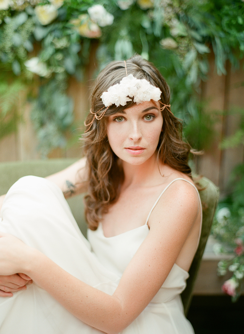 bohemian hair chain with silk flowers by hushed commotion