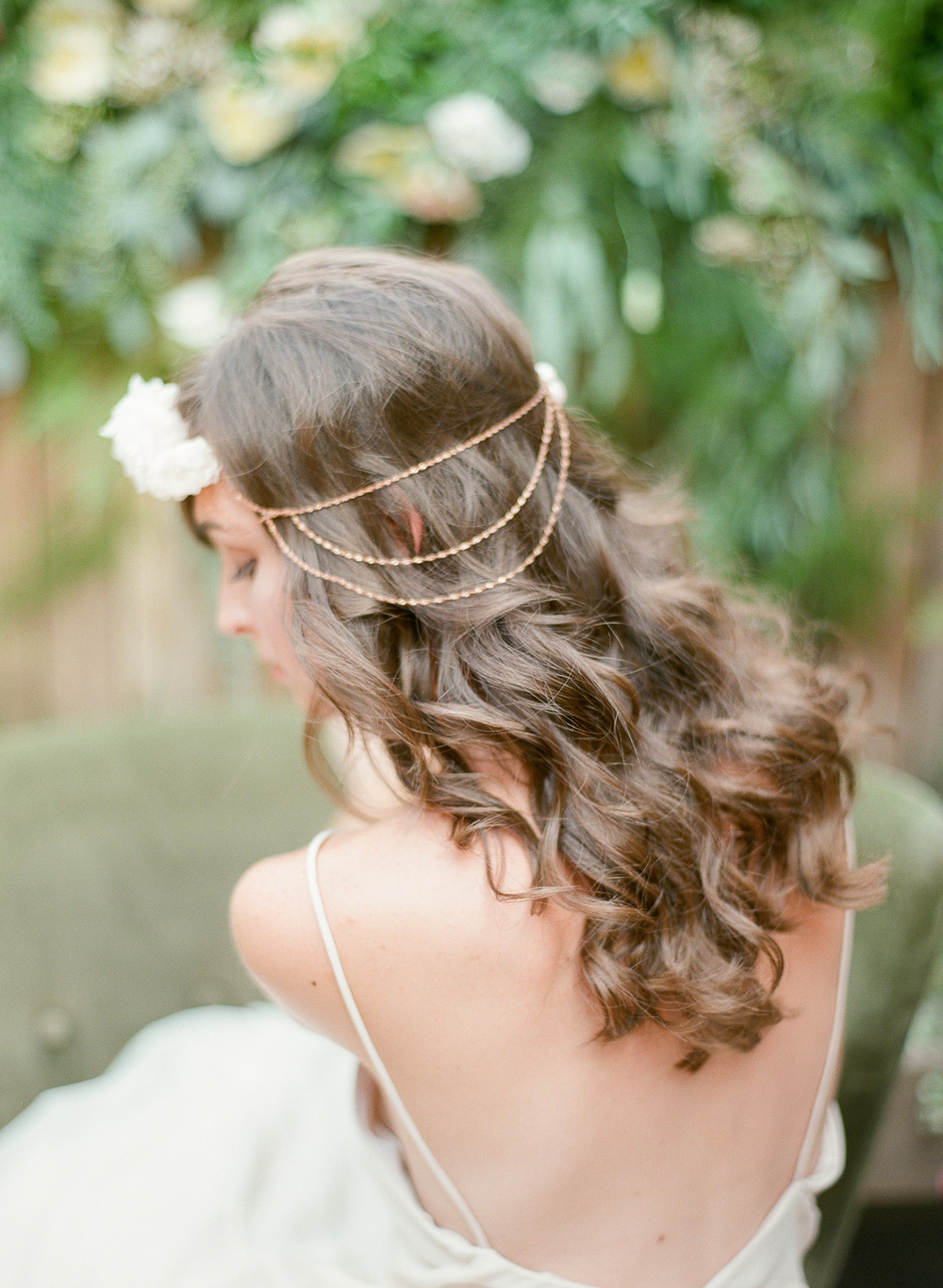 bohemian hair chain side detail with silk flower by hushed commotion