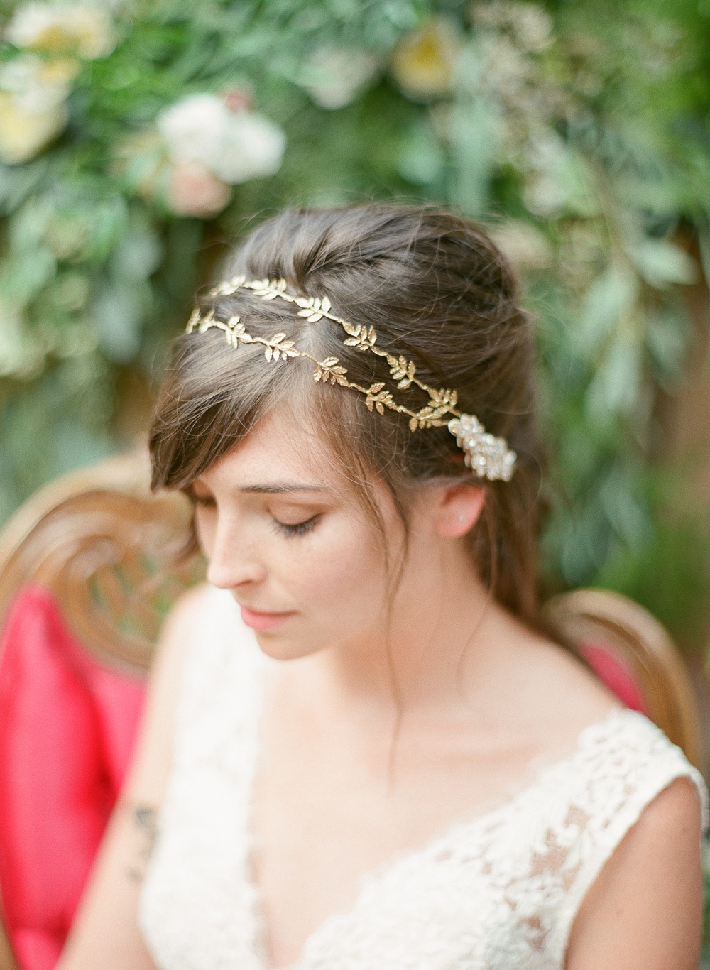 grecian gold leaf double headband by hushed commotion