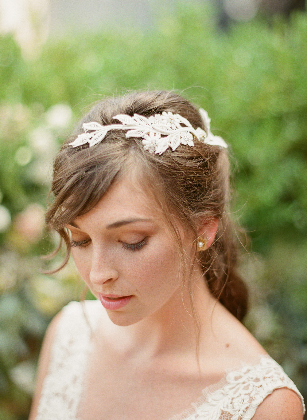 ivory embroidery head piece opal pearl crystal by hushed commotion