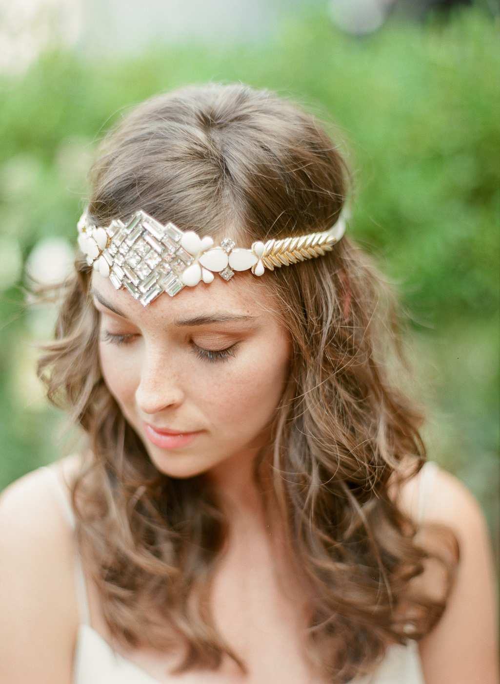 art deco headpiece crystal gold beading by hushed commmotion