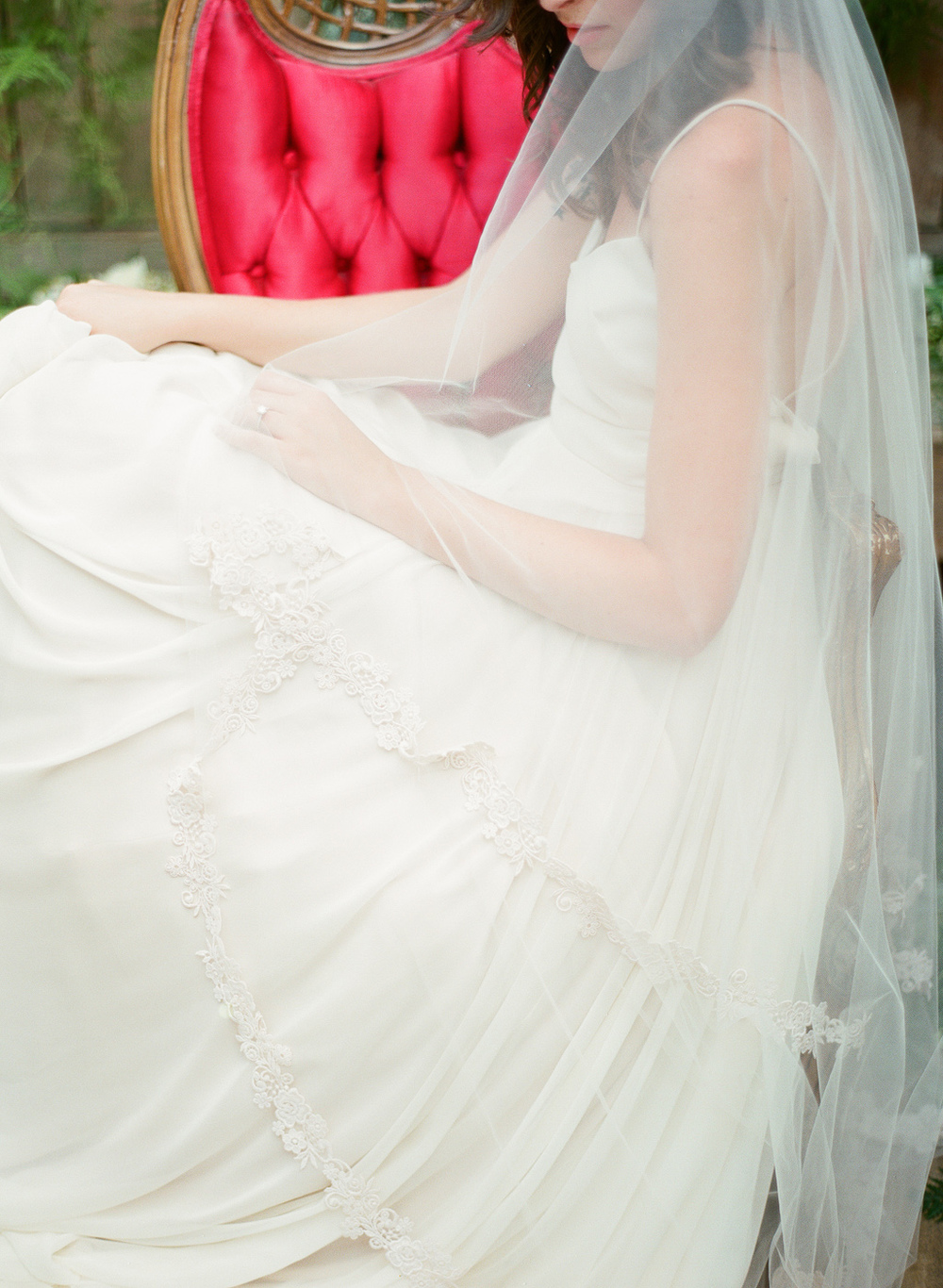 wedding drop veil with embroidery edge detail by hushed commotion